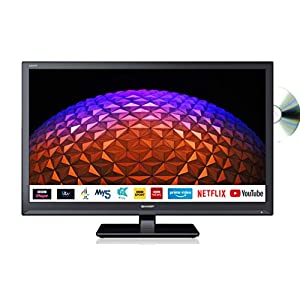 Sharp 1T-C24BE0KR1FB (24BE0K) 24 Inch HD Ready LED Smart TV with Freeview Play, Built-in DVD player, 2 x HDMI, SCART, USB Media Player – Black