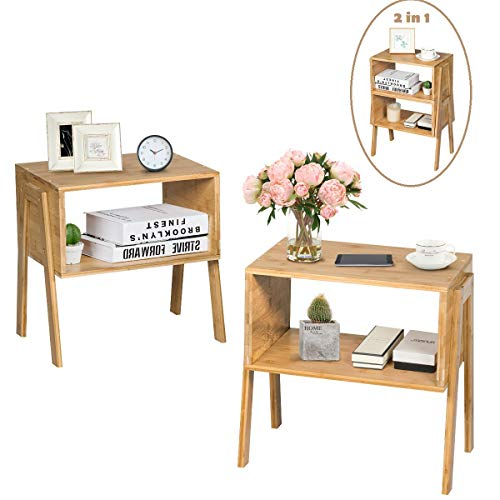 COSTWAY 2er Set Nachttisch Bambus, Stapelbare Nachtkommode, Nachtschrank mit offenem Fach, Nachtkonsole Beistelltisch Flurkommode Flurtisch Ablagetisch Telefontisch