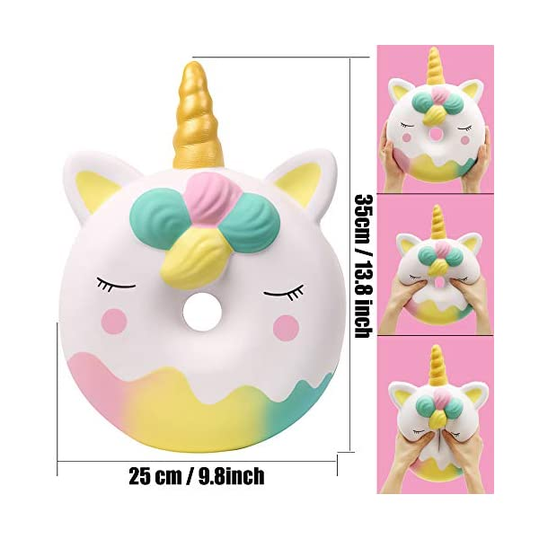 Anboor 13 Inches Squishies Jumbo Unicorn Donut Kawaii Soft Slow Rising Scented Giant Doughnut Squishies Stress Relief Kid Toys (White) 3