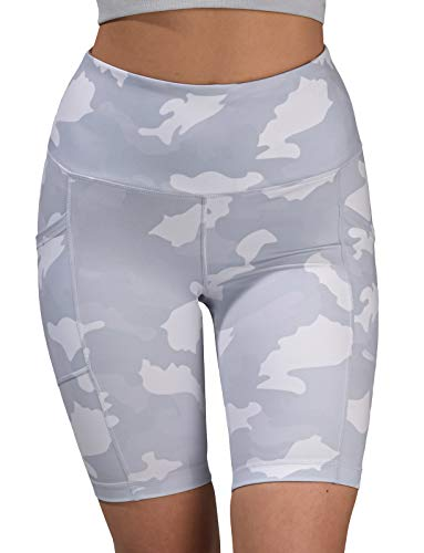 Yogalicious Womens High Waist Running Biker Shorts with Side Pockets - White Camo 9