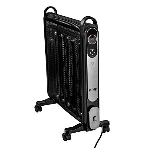 AMOS 2000W Oil-Free Mica Radiator 2 Heat Settings Home Office Micathermic Heater with Adjustable Temperature Thermostat and Remote Control