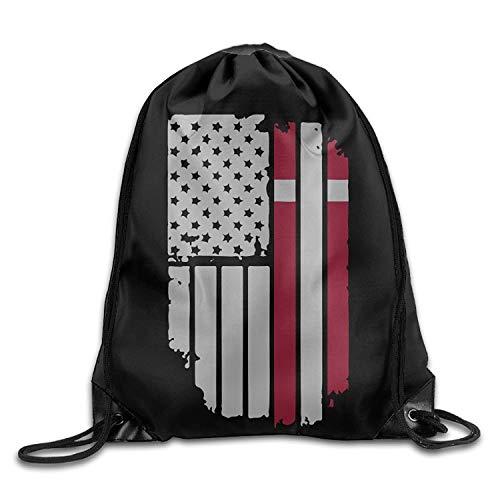 NA - Mochila con cordón de la bandera danesa americana, bolsa de gimnasio, portátil, bolsa de almacenamiento para camping, senderismo, natación, compras, senderismo, viajes, playa