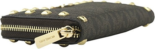 NEW Genuine MICHAEL KORS Womens Large Leather MK Logo Zip-Around Studded Purse Wallet - 35S7GTTZ1B JET SET (Brown)