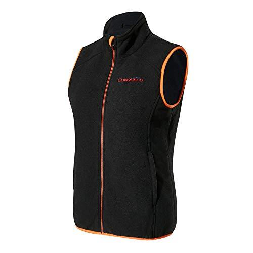 CONQUECO Verwarmd vest voor dames, polaren, fleece, winter, warme winter met accu en oplader voor outdoor, paardrijden, skiën, vissen