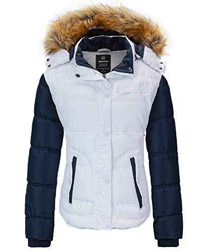 Wantdo Women's Insulated Puffer Jacket Warm Heavy Hood Outdoor Coat White Medium