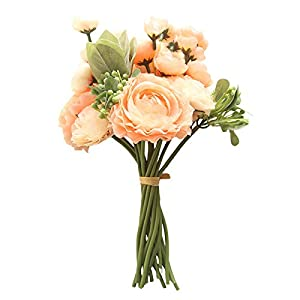 Artificial Flowers Silk Peony Rose Real Touch Fake Flowers 4pcs Single Stem Vintage Bouquet Plastic Shrubs Outdoor UV Resistant Plants for Home Wedding Party Decoration