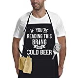 Funny Aprons for Men Women with 2 Pockets Kitchen Cooking Grilling Apron (One Size, If You're Reading)