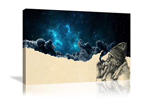 Urttiiyy Smoking Old Man with Beard Canvas Paintings Print Smoke Burns Out Blue Starry Sky Canvas Wall Art Home Decor for Living Room Bathroom Framed Ready to Hang
