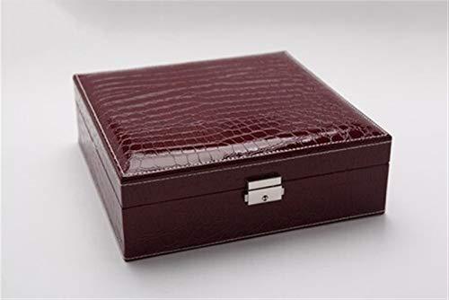 Multifuncional Caja de joyería, Patrón de cocodrilo Cajas de joyas de cuero para mujeres, organizador de joyas de doble capa con estilo, utilizado para almacenamiento de joyas, regalos para niñas y da
