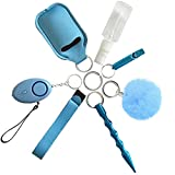 Self Defense Keychain Set for Women, Girls - Portable Protection Key Chain Tools - Women Safety Keychain with Alarm, Window Breaker, Wristlet, Pompom - Personal Defense(Blue)