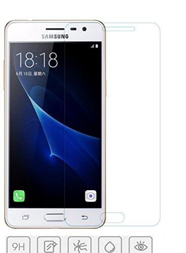 Karirap™ Top Quality ultra clear, 9H hardness,2.5D Curved, shatterproof, anti explosion, scratch free, bubble free, oil resistant, reduced fingerprint tempered glass screen protector glass for Samsung Galaxy J3 Pro