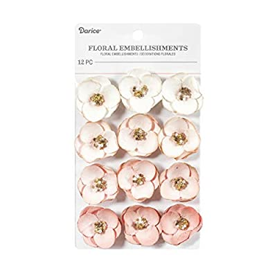 Darice Pink, Beaded Flower Floral Embellishment, 1.25 in, 12 Pack