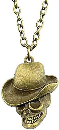 ZGYFJCH Co.,ltd Collar Moda Bronce Antiguo Tono 44X35Mm Sombrero Collar con Colgante de Calavera para Mujer 2021 Collar con Colgante de Regalo Vintage Regalo para Hombres Mujeres Niñas Niños