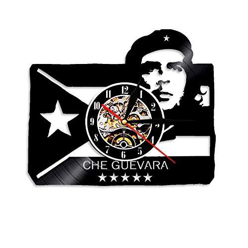 """LINMING Reloj de Pared de Vinilo Retrato con Bandera Cubana Cuba Revolution Reloj de Pared con Disco de Vinilo Reloj de Pared socialista Reloj Decoración Hombre Cueva Arte de Pared - 30cm.12"""""""
