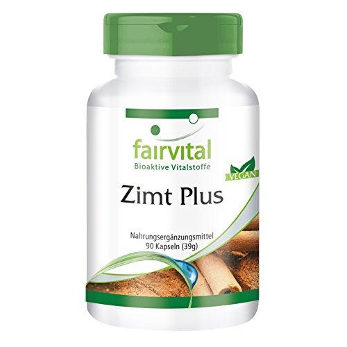 Zimt Plus Kapseln - HOCHDOSIERT - Zimt-Extrakt + Chrom + Zink - VEGAN - 90 Kapseln