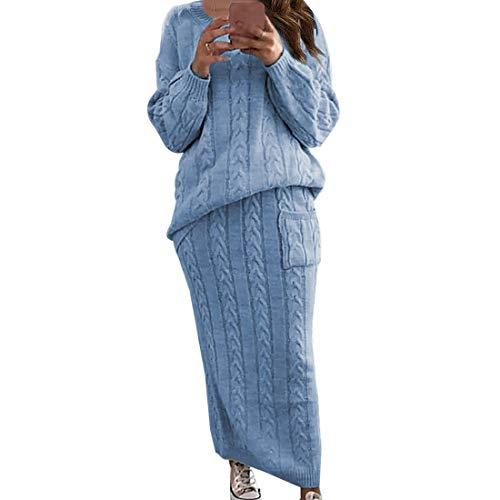 Vertvie Damen Zweiteiler Pullover mit Rock Langarmshirts Sweatershirt Maxikleider Elegant Slim Fit Freizeitanzug Hausanzug