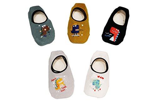 Ceguimos - Pack de 5 Pares Calcetines Invisibles para Bebé Niños - Antideslizante, Set 6, 1-3 Años