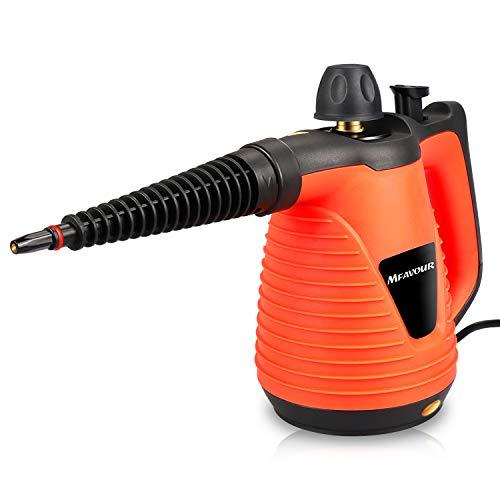 MFAVOUR Nettoyeur Vapeur Nettoyeur Vapeur à Main 1050W Puissant Multifonction avec 9 Embouts Portable pour Maison, Bureau 250ML (Orange Claire)