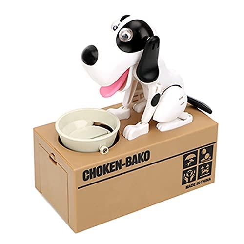 Little Dog Puggy Bank, Doggy Coin Bank, Hund Sparschwein Münze Münze Münze Münze Spielzeug Spardose Robotic Coin Eating Munching Spielzeug Sparbox (schwarz & weiß)