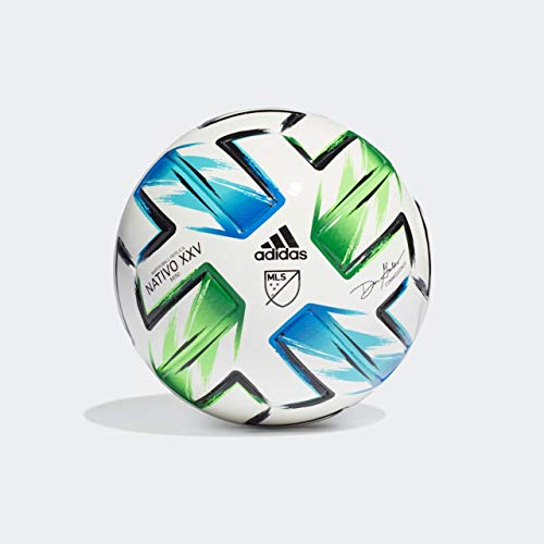 adidas MLS Nativo XXV Mini Soccer Ball White/Samba Blue/Solar Green/Silver Metallic 1