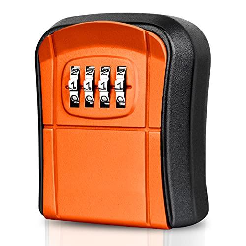 WACCET Cassetta di Sicurezza per Chiavi Montaggio a Parete Mini Cassaforte per Chiavi Esterno Interno Impermeabile Cassetta Chiavi Combinazione di 4 Cifre per Casa Garage Ufficio Fattoria (Arancione)