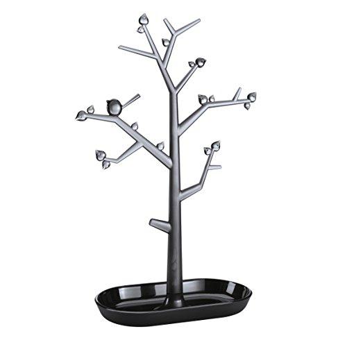 koziol Schmuckbaum [pi:p] L, Kunststoff, schwarz mit transparent anthrazit, 12.8 x 27.6 x 43.8 cm