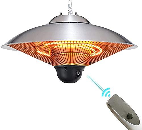 WXking Calentador de Patio al Aire Libre Colgante, Calentador de Paraguas infrarrojo eléctrico Calefacción silenciosa para balcón para Exteriores/de Interior - Control Remoto, 2200W