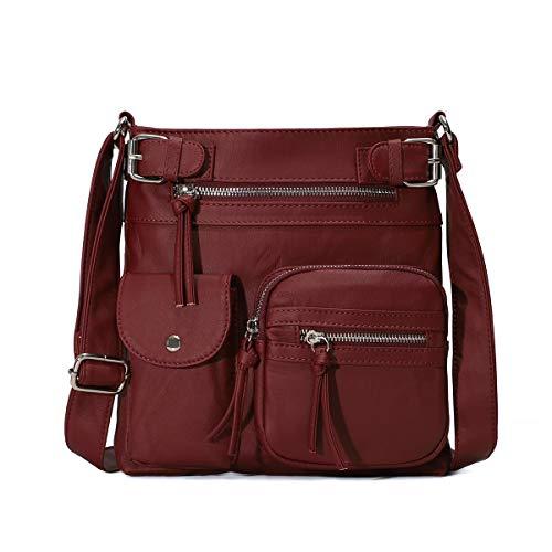 Angelkiss Damen Umhängetaschen Weiches Leder Henkeltaschen Handtasche Geldbörse Crossover Taschen für Mädchen oder Frauen (Crimson)