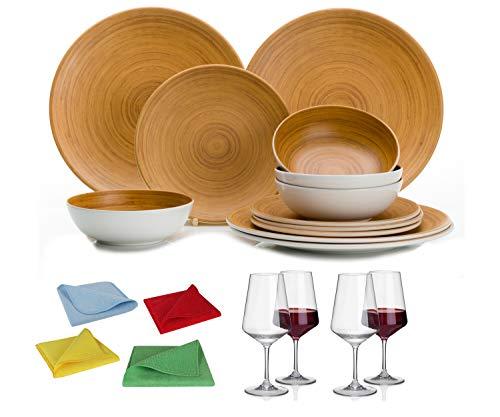 Moritz - Vajilla de melamina para camping, 4 personas, diseño de bambú, 4 vasos de vino tinto Savoy y 1 paño de microfibra, juego de 4 colores