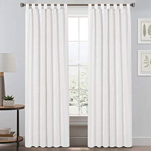 """Light Reducing Natural Linen Curtains for Living Room/Bedroom Privacy Assured Semi Sheer Textured Flax Curtain Draperies Light Filtering Soft and Durable, Tab Top 2 Panels (52"""" W x 84"""" L, Off White)"""