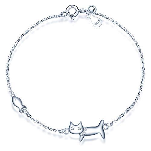 MicLee Damen Armband Zirkonia 925 Sterling Silber Allergenfrei Katze und Fisch Armreif Armkette mit Geschenkbeutel Super Geschenk für Mutter Freundin