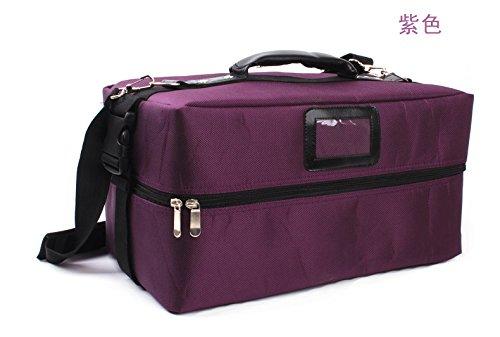RY@ Cas de cosmétiques artiste multifonctionnel portatif dédié épaule compact maquillage professionnel (38 * 18 * 18 cm) , purple