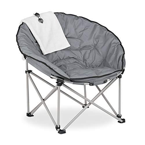 Relaxdays Moon Chair XXL, Faltbarer Campingsessel, HBT: 98 x 102 x 73 cm, gepolstert, Klappsessel mit Tragetasche, grau