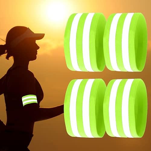 May-Kon Bike® Premium Reflektorbänder [4er Set] Hochwertige & Elastische Bänder mit Klettverschluss - Reflektoren zum Joggen, Radfahren, Wandern, Motorrad, Reiten u.v.m.