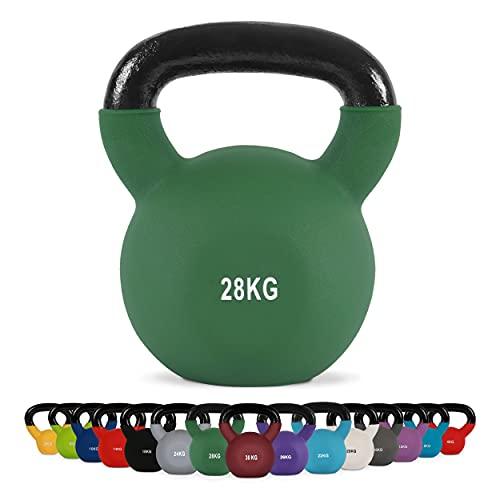 MSPORTS Kettlebell Professionale 28 kg   Ghisa Revestimento in Neoprene   incl. Workout PDF   Verde Olivo