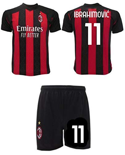 Ibrahimovic Milan 2021 Zlatan oficial 2020-2021 número 11 camiseta + pantalones cortos, Rossonera, 10 años