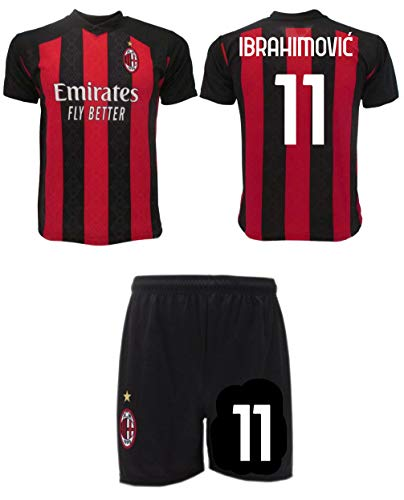 Completo Ibrahimovic Milan 2021 Zlatan Ufficiale 2020-2021 Numero 9 Maglia + Pantaloncini (S Adulto)