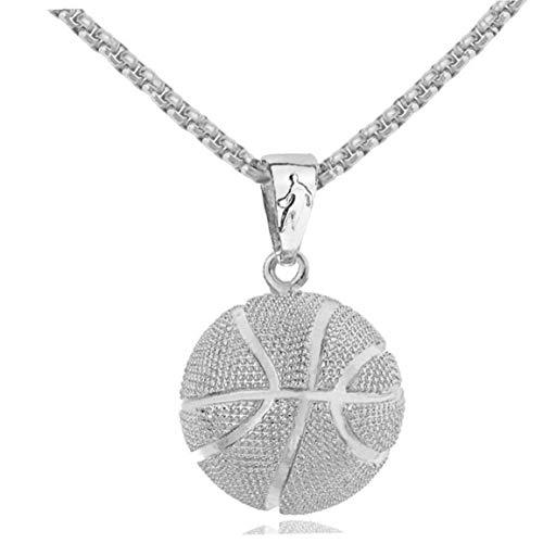 BYFRI Collar de la Bola de Baloncesto Colgante de Acero Inoxidable Gargantilla Corto clavícula Cadena del Cuello joyería para Las Mujeres de los Hombres