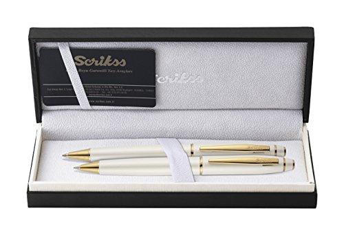 Scrikss Elegance - Edles Schreibset, Kugelschreiber und Druckbleistift, Noble 35 Perlweiß Gold