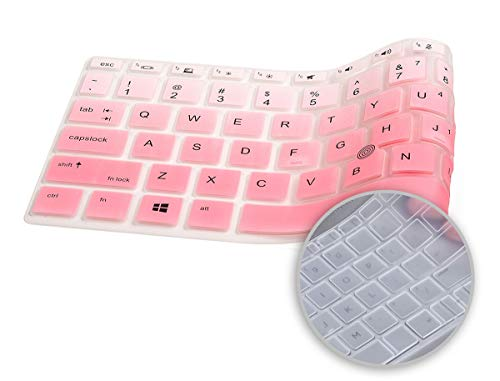 2 Pack Keyboard Cover for HP EliteBook 14 840 G5/ G6, HP EliteBook 745 G5 G6 14 Inch, HP ZBook 14u G5 G6, HP EliteBook 840 Keyboard Skin Protector (Ombre Pink+Clear)
