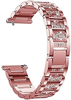 Crystal Wirst Watch Wrist-Band Strap Stainless Steel Metal Bling Belt Strap with Diamond Rhinestone Luxury Replacement Bracelet Bangle by CHAMPLED (Rose Gold, 22mm)