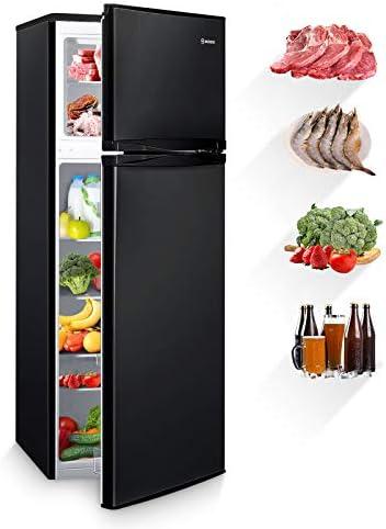 MOOSOO 7 3 Cubic Feet Refrigerator Dual Door Mini Fridge with Top Freezer 7 Adjustable Temperature product image