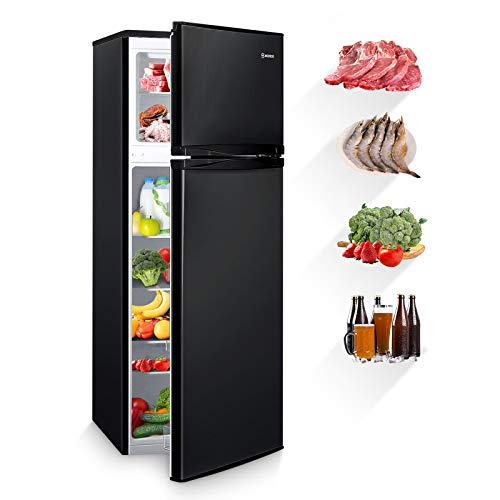 MOOSOO Compact Refrigerator, 7.3 Cu.Ft Dual Door Fridge with Freezer, 7 Adjustable Temperature, Removable Shelves, Ultra-Quiet Silencer, Ideal Food and Drink Storage (Black)