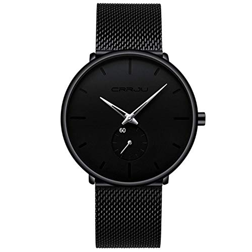 Herren Uhren Ultra Dünne Schwarze Minimalistische Quartz mit Milanese Mesh Edelstahl Und Silberne Zeiger