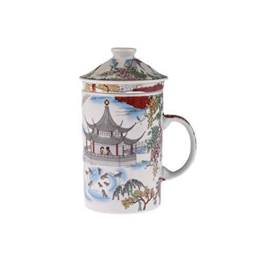 lachineuse - Taza con Filtro para té y Tapa, diseño de Lago