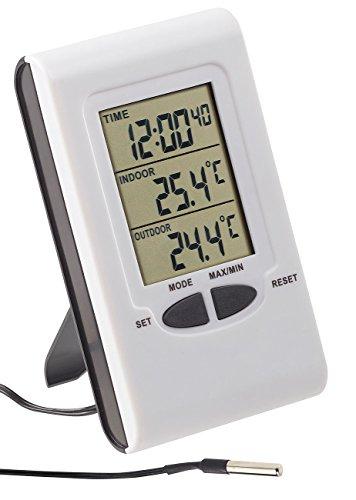 PEARL außen Innenthermometer: Digitales Innen- und Außen-Thermometer mit LCD-Display und Uhrzeit (Thermometer Digital großes Display)