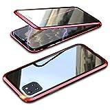 Funda para Samsung Galaxy Note10 Lite 360° cubierta magnética, cristal templado de doble cara transparente con parachoques de metal a prueba de golpes, diseño de una sola pieza, color rojo