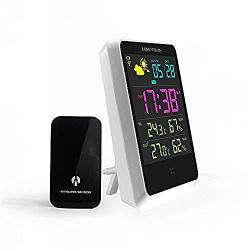 Alarm Clock Digitale thermometer, voor binnen en buiten, luchtvochtigheid, met groot LCD-display, outdoor sensor, alarm klok, voor thuis en op kantoor