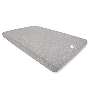Burt's Bees Baby – Fitted Mini Crib Sheet for Pack 'n Play or Portable Playard, 100% Organic Cotton (Heather Grey) (HM26940-HTG-OS)