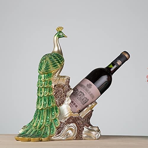 Botellero Estante de Vino de Vino de Pavo Real Creativo, Manualidades de Resina, Regalos de Negocios, Decoraciones de Regalo (Color : Light Green)